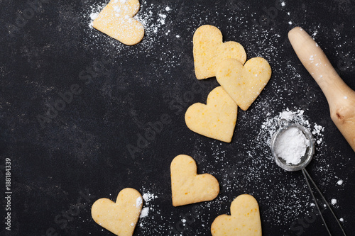 Fotobehang Koekjes Cookies in shape of heart for Valentines day. Sweet baking. Top view.