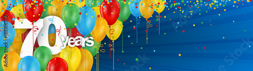 Obraz na plátně 70 YEARS - HAPPY BIRTHDAY/ANNIVERSARY BANNER WITH COLOURFUL BALLOONS