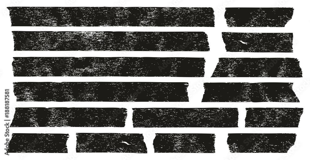 Fototapety, obrazy: Masking Tape Black Grunge Set 01