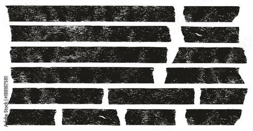 Masking Tape Black Grunge Set 01 Wallpaper Mural