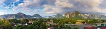 Panorama Viewpoint And Beautiful Landscape At Vang Vieng, Laos.