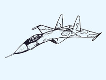 Military Airplane Su, Hand Drawn Doodle Sketch, Isolated Vector Outline Illustration