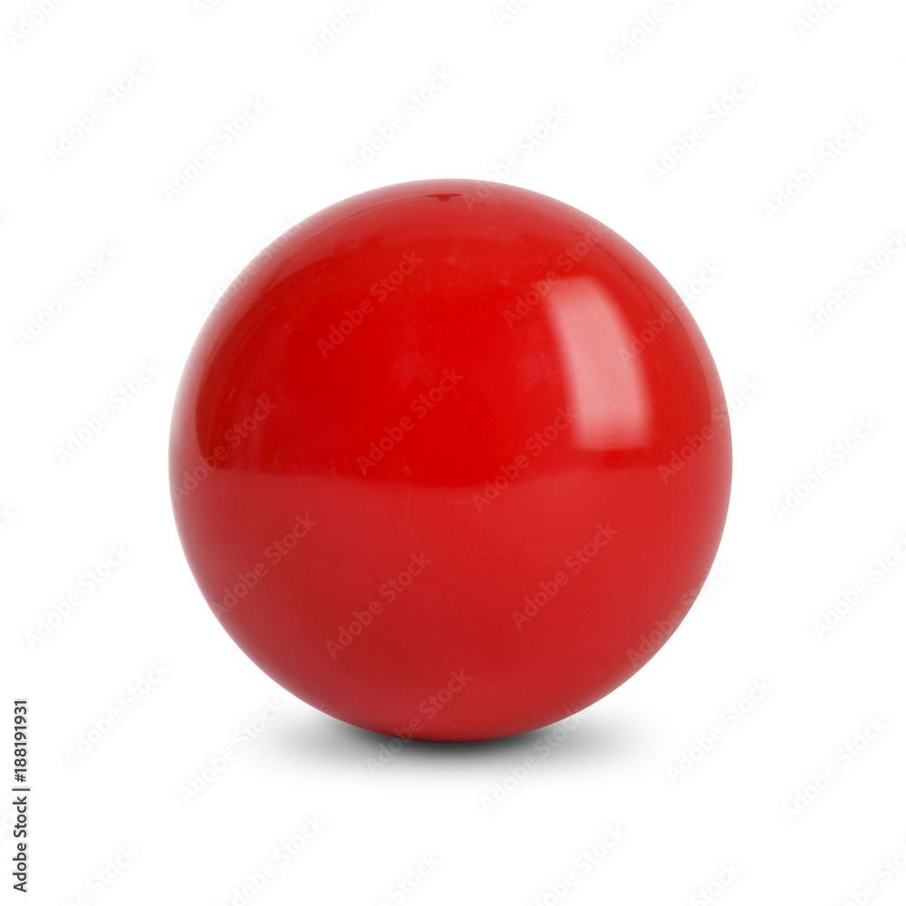 Fototapety, obrazy: Red ball, Snooker Ball on white background