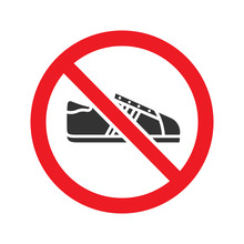 Forbidden Sign With Sneaker Glyph Icon
