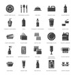 Plastic packaging, disposable tableware vector glyph icons. Product container silhouette, bottle, packet, canister, plate and cutlery. Packs filled signs, synthetic material goods. Pixel perfect 64x64