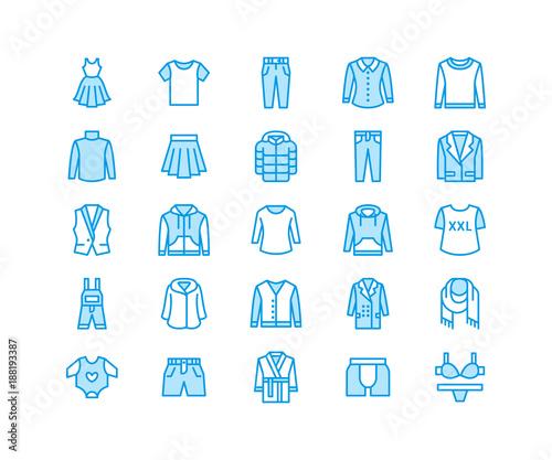 Clothing, fasion flat line icons  Mens, womens apparel