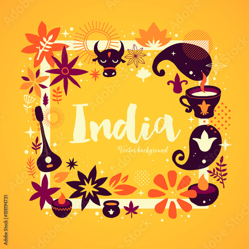 India background/banner template with abstract, floral and national elements Canvas Print