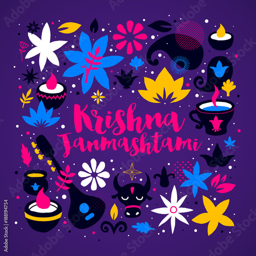 Photo  Krishna Janmashtami design template with abstract colorful elements on deep violet background