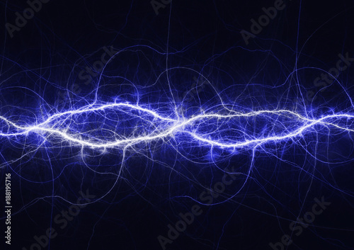 La pose en embrasure Fractal waves Blue electrical lightning background, plasma and electrical abstract