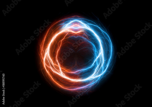 Photo Fire and ice plasma swirl, abstract electrical lighning ball
