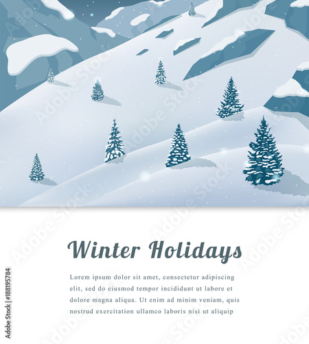 Fotobehang Lichtblauw Landscape with mountain peaks. Winter sport vacation and outdoor recreation. Vector