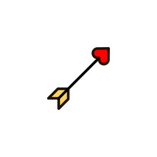 Outline Cupid Arrow Icon Isola...
