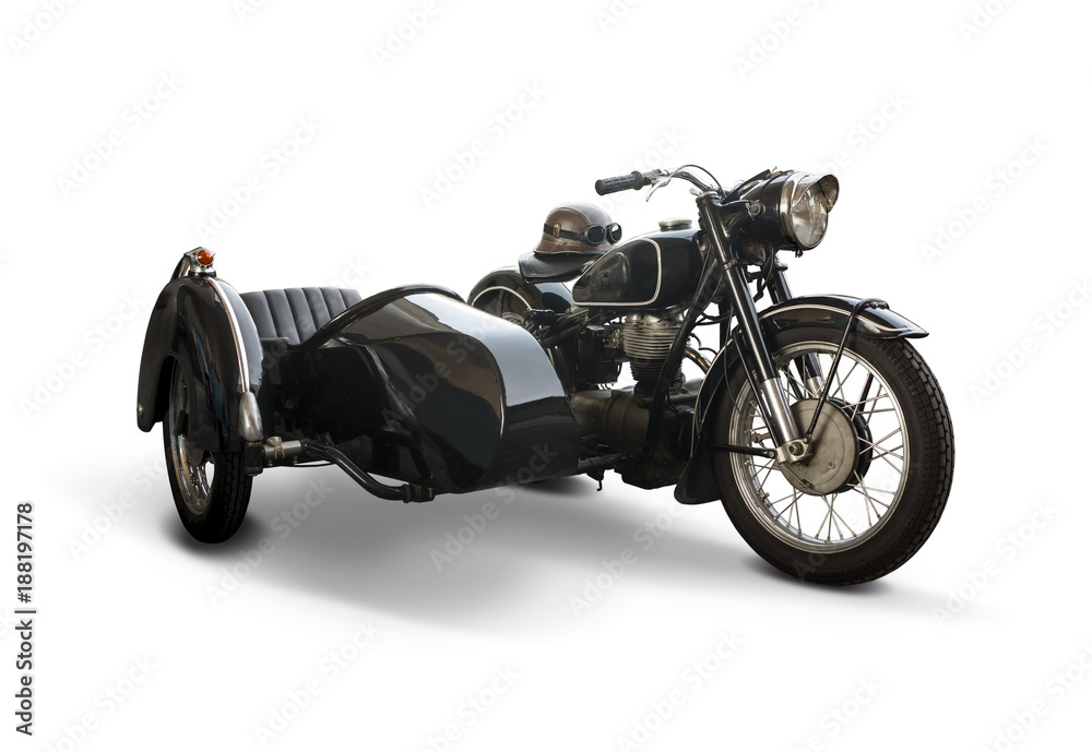 Fototapeta Black classic motorcycle with side car isolated on white background