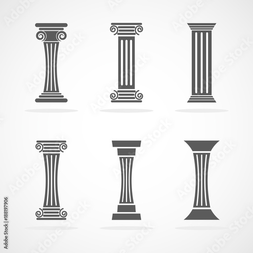 Fotografering Antique column icons. Vector illustration