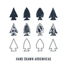 Hand Drawn Textured Arrowheads...