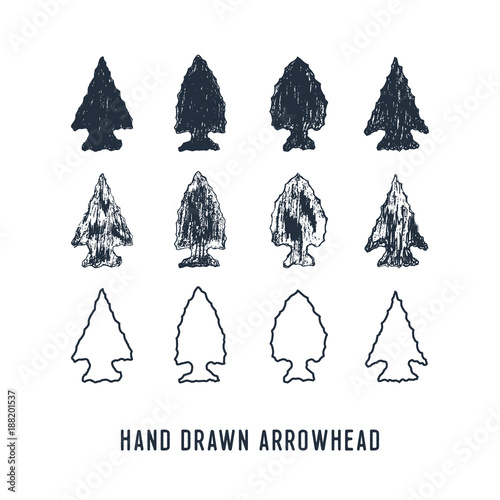 Hand drawn textured arrowheads vector illustrations set. Canvas Print
