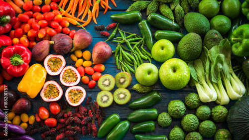 Staande foto Keuken Flat lay of fresh fruits and vegetables for background, Different fruits and vegetables for eating healthy, Colorful fruits and vegetables on blue plank background
