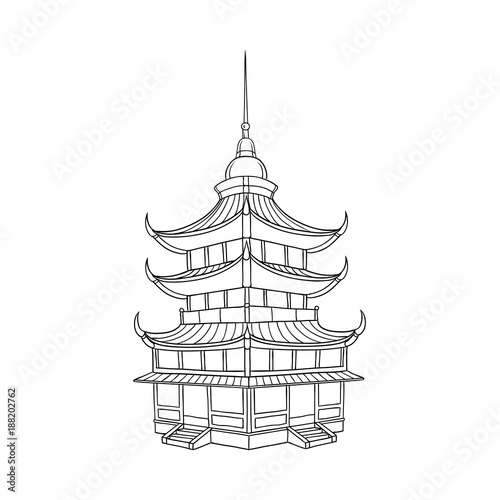 Traditional Japanese, Chinese, Asian pagoda building, flat style vector illustration isolated on white background Tapéta, Fotótapéta