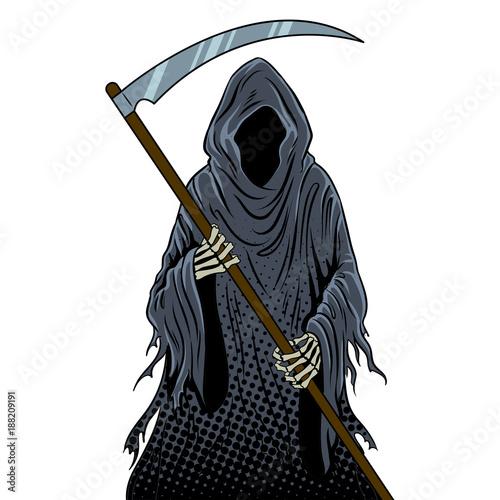Grim reaper pop art vector illustration © Alexander Pokusay