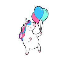 Cute Fat Unicorn Happy Jumps W...