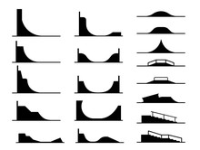 Illustration In Form Of Pictograms Which Represent Types Of Ramps For Skate Parks And Railings For Bicycle And Skateboard Tricks And Stunts. Equipment For Enjoyment In Extreme Adrenaline Sport.