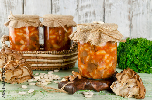 Fotografie, Tablou Salad with beans and mushrooms preserve in glass jar