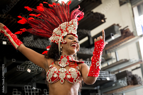 Fotografia, Obraz Brazilian Woman Celebrating Carnaval