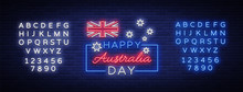 Happy Australia Day Neon Sign Vector. Neon Banner, Bright Card, Luminous Sign, Night Neon Welcome Card Happy Australia 26 January. Flyer, Design Template For Your Projects. Editing Text Neon Sign