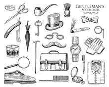Gentleman Accessories Set. Hipster Or Businessman, Victorian Era. Engraved Hand Drawn Vintage. Brogues, Briefcase, Shirt And Cigar. Cylinder Hat, Smoking Pipe, Straight Razor, Monocle, Pince-nez