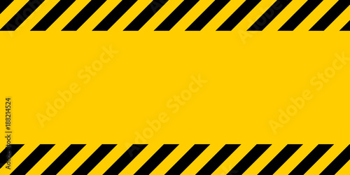 Fotografía  Black and yellow warning line striped rectangular background, yellow and black s