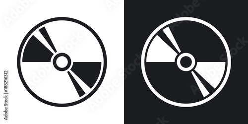 Obraz Vector CD or DVD icon. Two-tone version on black and white background - fototapety do salonu