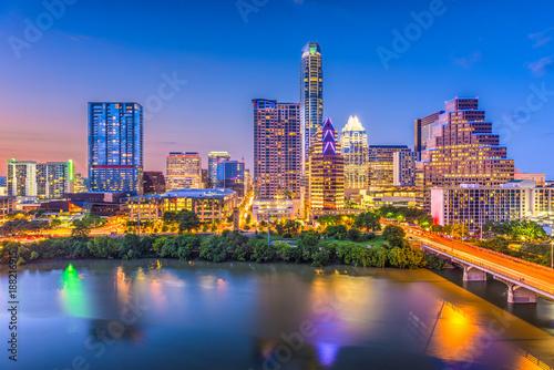 Foto op Plexiglas Texas Austin, Texas, USA downtown skyline over the river.