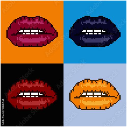 Pixelated lips pop art background Wallpaper Mural