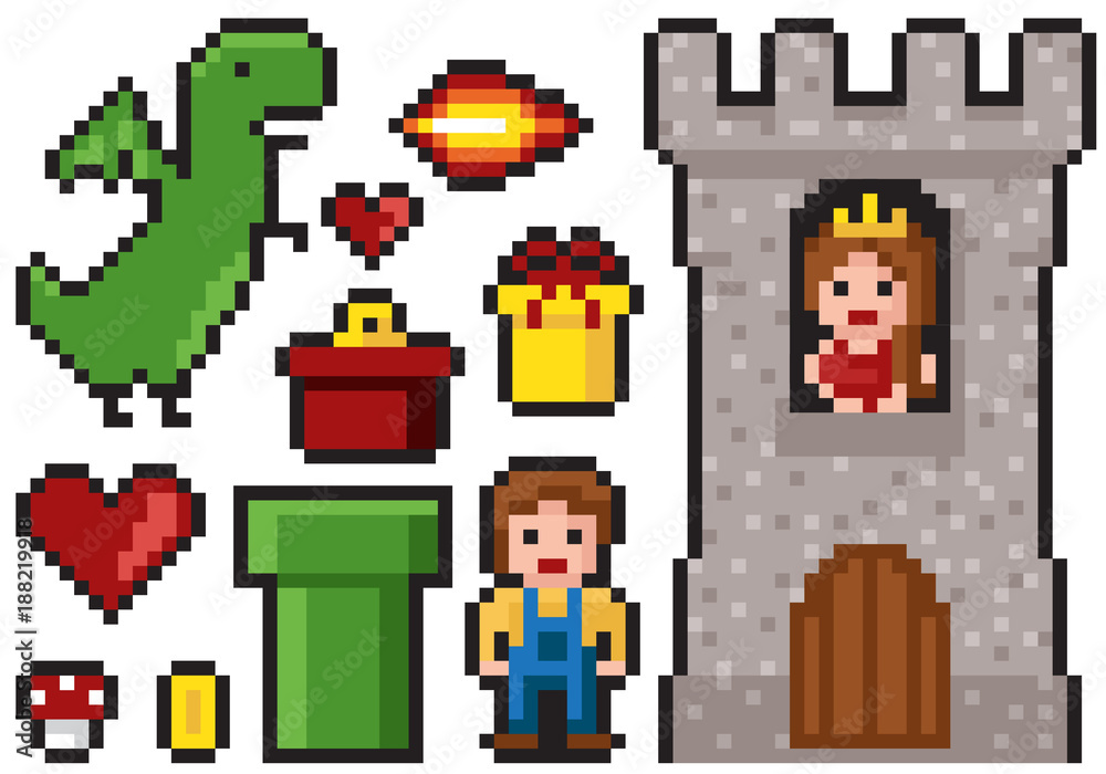 Fototapeta Set of minimalistic pixel art vector objects isolated. game 8 bit style.