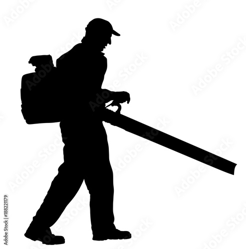 Photo Landscaper operating petrol Leaf Blower in the city park, vector silhouette illustration