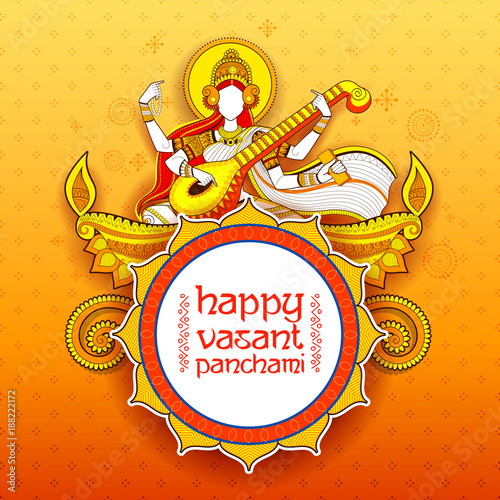Photo  Goddess of Wisdom Saraswati for Vasant Panchami India festival background