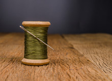Retro Wooden Spool Thread With Needle Sewing