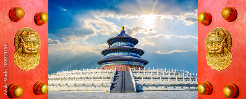 Tuinposter Peking Beijing, China. Located in Qinian Hall, The Temple of Heaven.
