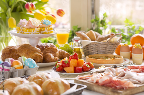 Fotografie, Obraz  Table with delicatessen ready for Easter brunch
