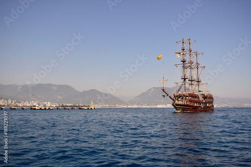 Big vessel sails on the sea