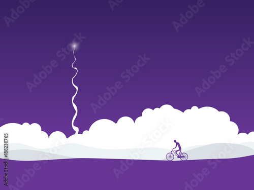 Foto op Aluminium Snoeien Cyclist in abstract futuristic landscape with rocket launch. Symbol of active healthy lifestyle in future.