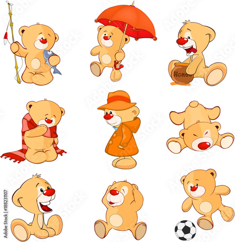 Photo sur Aluminium Chambre bébé Set of Cartoon Illustration Stuffed Bears for you Design