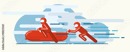 Photo Vector illustration. Winter sport of bobsleigh. Extreme