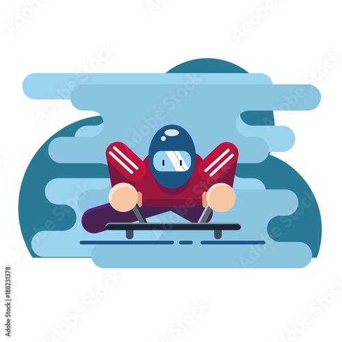 Vector illustration. Winter sport of Skeleton. Luge sport. Extreme