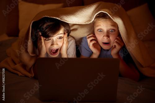 Obraz na plátne Frightened little boys watching film on computer