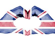 Britain Flag On Hand