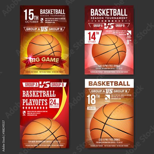 basketball poster set vector design for sport bar promotion