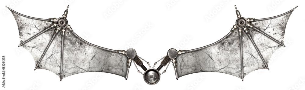 Obraz Steampunk wings bat isolated fototapeta, plakat