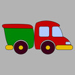 A cartoon truck, a colored toy car. Vector illustration.