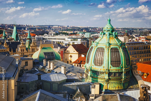 City on the water .Panoramic view from the powder tower in the city of Prague. Czech Republic.